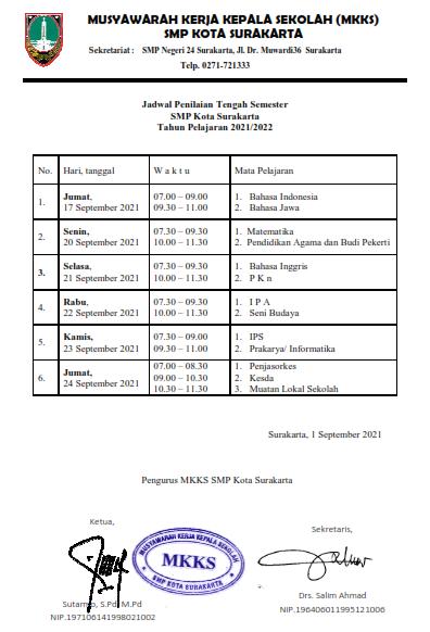 Jadwal PTS Gasal 2021/2022